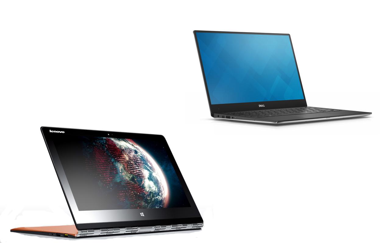 Lenovo Yoga 3 a sinistra e Dell XPS 13 a destra